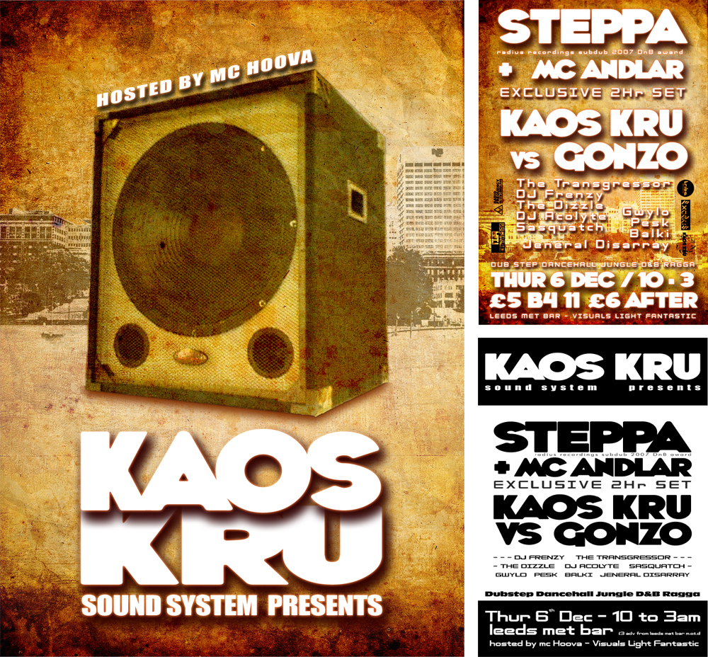 Music Events Graphic Design For Promotional Material And Kaos Dub Step Marketing
